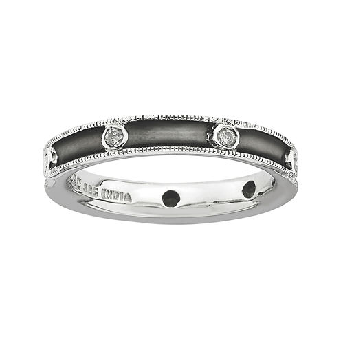 Personally Stackable Antiqued 1/6 CT. T.W. Diamond Ring