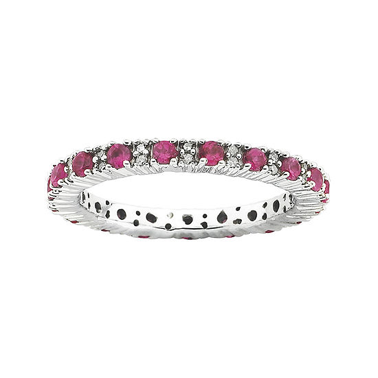 Personally Stackable 1/5 CT. T.W. Diamond and Lab-Created Ruby Ring
