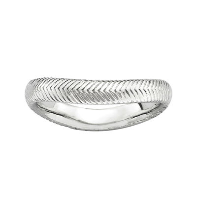 Personally Stackable Sterling Silver Chevron Wave Ring