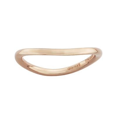 Personally Stackable 18K Rose Gold Over Sterling Silver Smooth Wave Ring