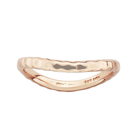 Personally Stackable 18K Rose Gold Over Sterling Silver Ribbed Wave Ring