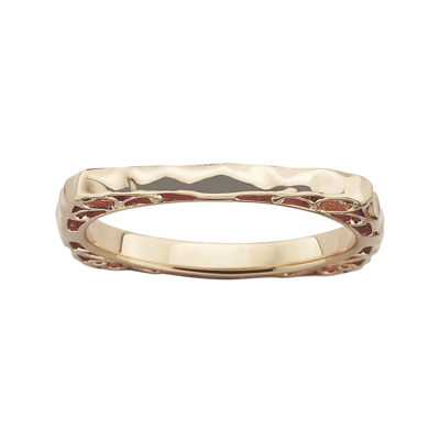 Personally Stackable 18K Rose Gold Over Sterling Silver Wavy Square Ring