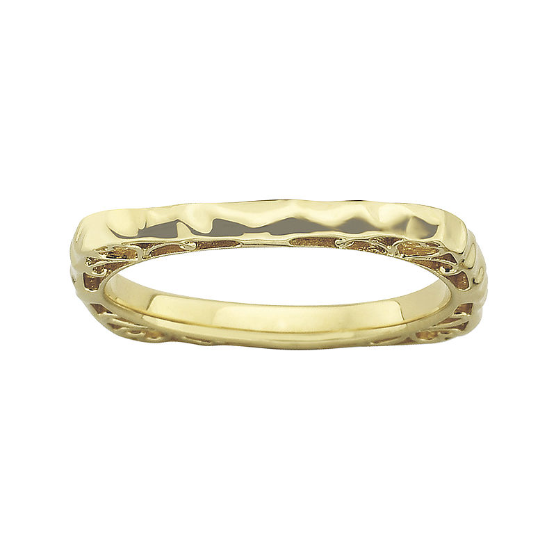 image of Personally Stackable 18K Gold Over Sterling Silver Wavy Square Ring-pp5004740141