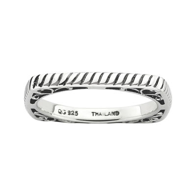 Personally Stackable Antiqued Sterling Silver Square Stackable Ring