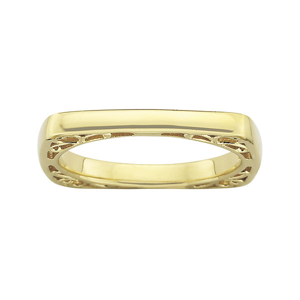 Personally Stackable 18K Gold Over Sterling Silver Square Stackable Ring