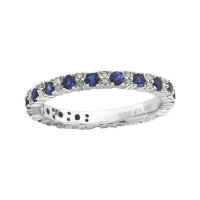 Personally Stackable Diamond-Accent Lab-Created Sapphire Ring