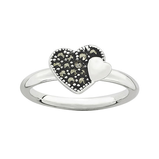 Personally Stackable Marcasite Sterling Silver Heart Ring