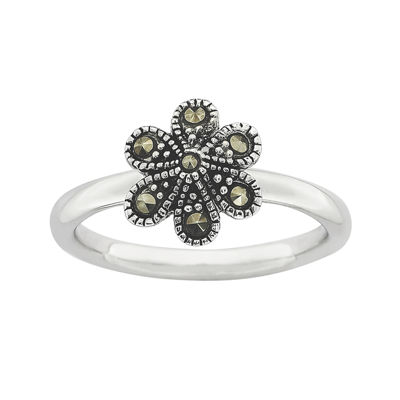 Personally Stackable Marcasite Sterling Silver Flower Ring