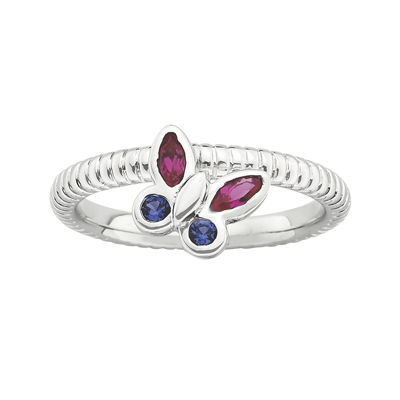 Personally Stackable Lab-Created Ruby & Sapphire Butterfly Ring