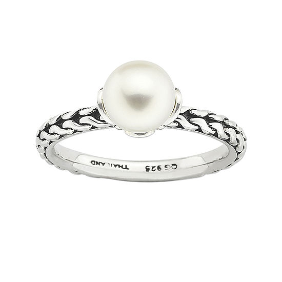 Personally Stackable Sterling Silver Cultured Freshwater Pearl Ring