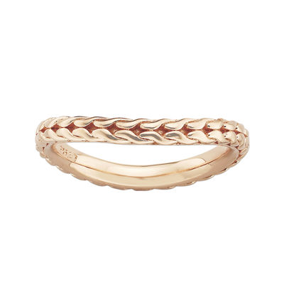 Personally Stackable 18K Rose Gold Over Sterling Silver Braided Wave Ring