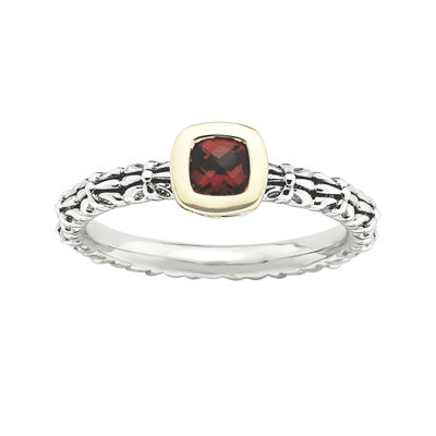 Personally Stackable Checker-Cut Genuine Garnet Two-Tone Ring