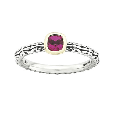 Personally Stackable Checker-Cut Lab-Created Ruby Two-Tone Ring