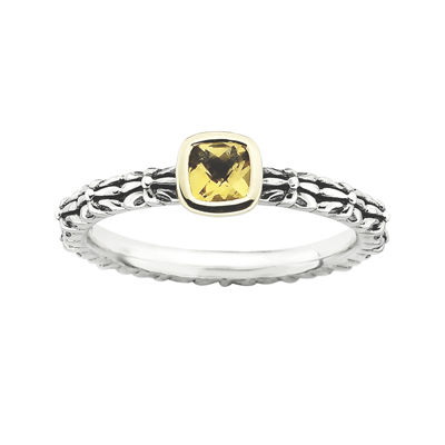 Personally Stackable Checker-Cut Genuine Citrine Two-Tone Ring