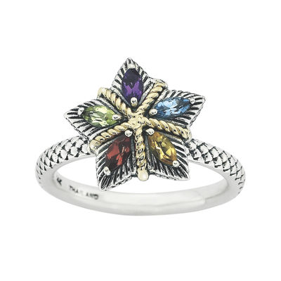 Personally Stackable Multi-Gemstone Star Two-Tone Ring