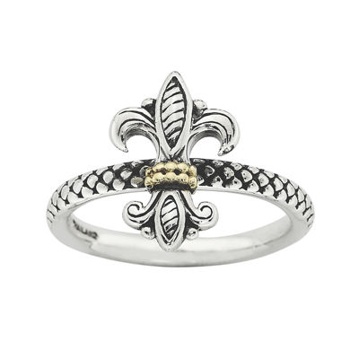 Personally Stackable Fleur-de-Lis Two-Tone Ring