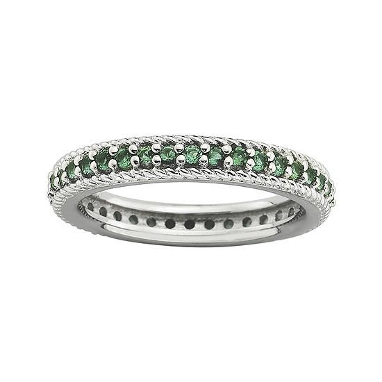 Personally Stackable Lab-Created Emerald Eternity Ring