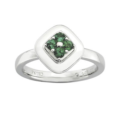 Personally Stackable Lab-Created Emerald Flower Cluster Ring