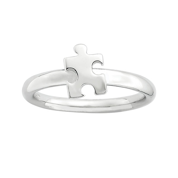 Personally Stackable Sterling Silver Puzzle Piece Ring