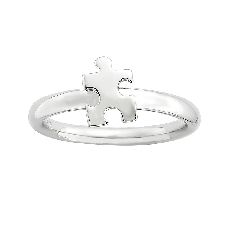 image of Personally Stackable Sterling Silver Puzzle Piece Ring-pp5004730630