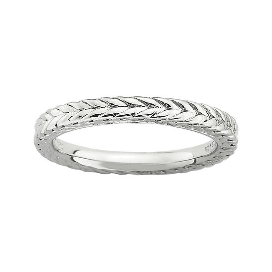 Personally Stackable Sterling Silver Dome Wheat Ring
