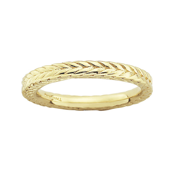 Personally Stackable 18K Yellow Gold Over Sterling Silver Dome Wheat Ring