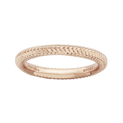 Personally Stackable 18K Rose Gold Over Sterling Silver Braid Dome Ring