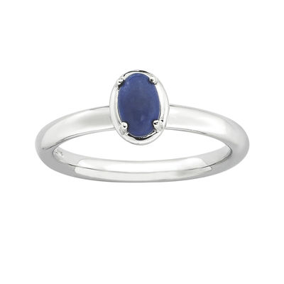 Personally Stackable Oval Genuine Lapis Sterling Silver Ring
