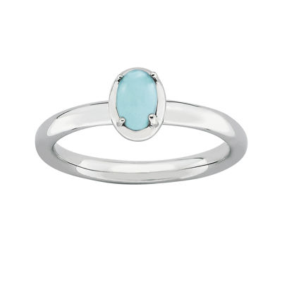 Personally Stackable Oval Lab-Created Turquoise Sterling Silver Ring