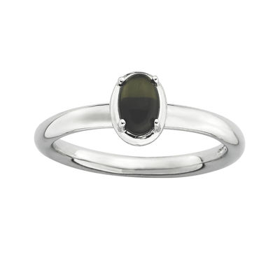 Personally Stackable Oval Genuine Onyx Sterling Silver Ring