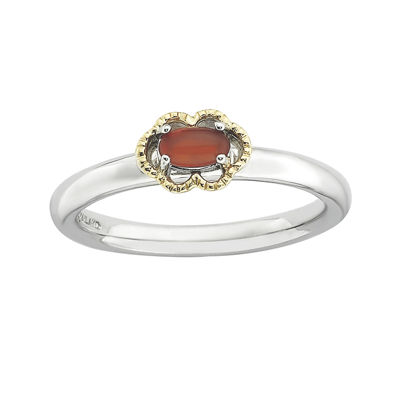 Personally Stackable Oval Genuine Red Agate Two-Tone Ring