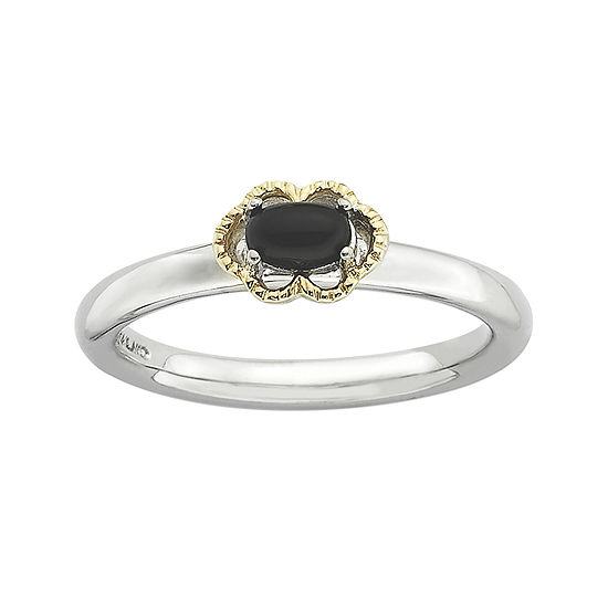 Personally Stackable Oval Genuine Black Onyx Two-Tone Ring
