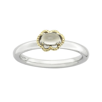 Personally Stackable Oval Genuine White Moonstone Two-Tone Ring