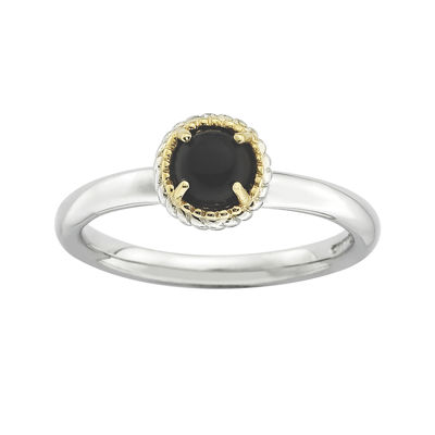 Personally Stackable Round Genuine Onyx Two-Tone Ring