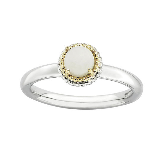Personally Stackable Oval Genuine White Agate Two-Tone Ring