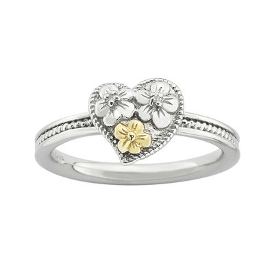Personally Stackable Diamond-Accent Two-Tone Heart & Flower Ring