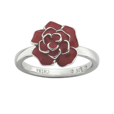 Personally Stackable Sterling Silver Red Enamel Rose Ring