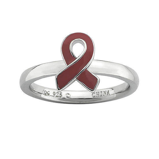 Personally Stackable Sterling Silver Red Enamel Awareness Ribbon Ring
