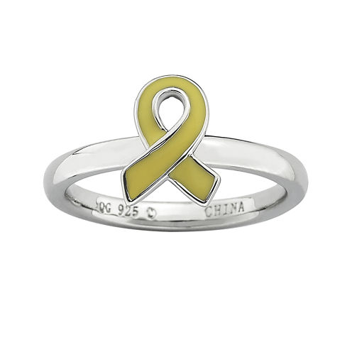 Personally Stackable Sterling Silver Yellow Enamel Awareness Ribbon Ring