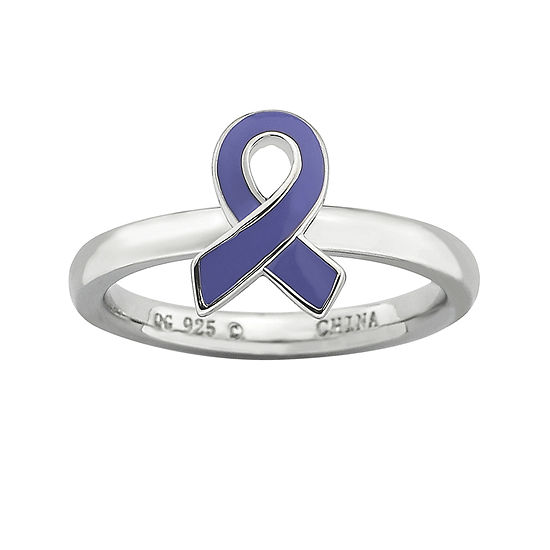 Personally Stackable Sterling Silver Purple Enamel Awareness Ribbon Ring