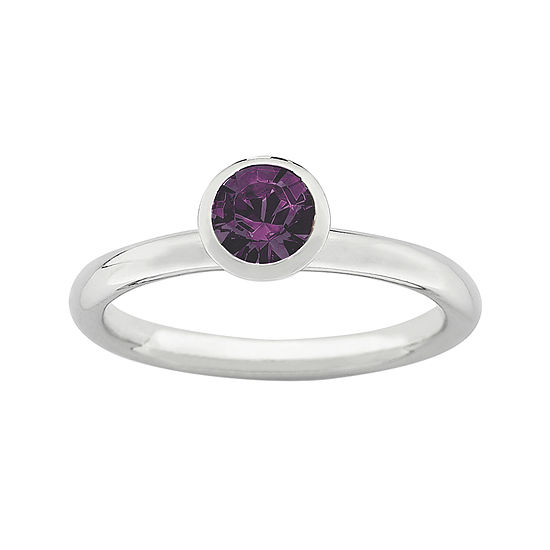 "Personally Stackable ""February"" Purple Crystal Sterling Silver High Profile Ring"