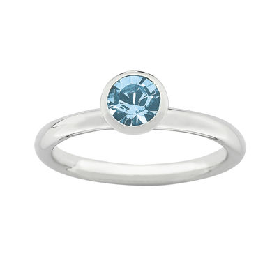 "Personally Stackable ""March"" Light Blue Crystal Sterling Silver High Profile Rin"