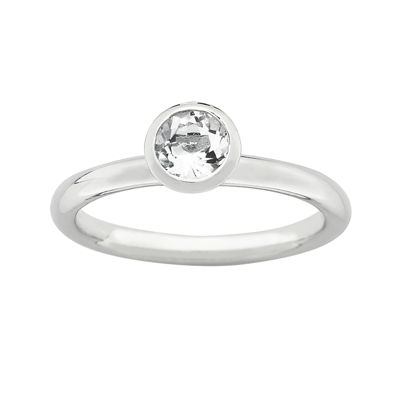 "Personally Stackable ""April"" Crystal Sterling Silver High Profile Ring"