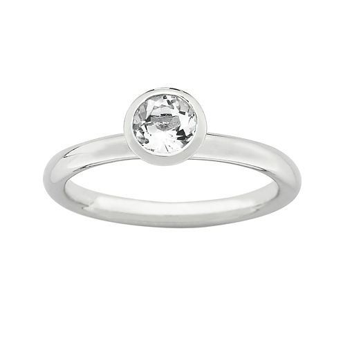 """Personally Stackable """"April"""" Crystal Sterling Silver High Profile Ring"""