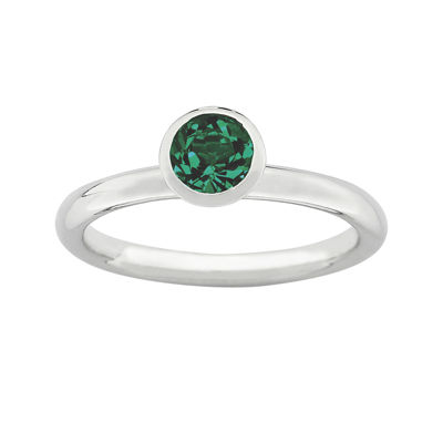 "Personally Stackable ""May"" Green Crystal Sterling Silver High Profile Ring"