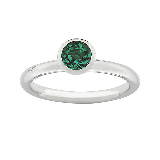 """Personally Stackable """"May"""" Green Crystal Sterling Silver High Profile Ring"""