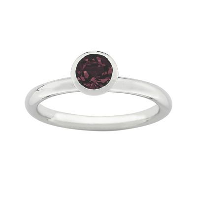 """Personally Stackable """"June"""" Red Crystal Sterling Silver High Profile Ring"""