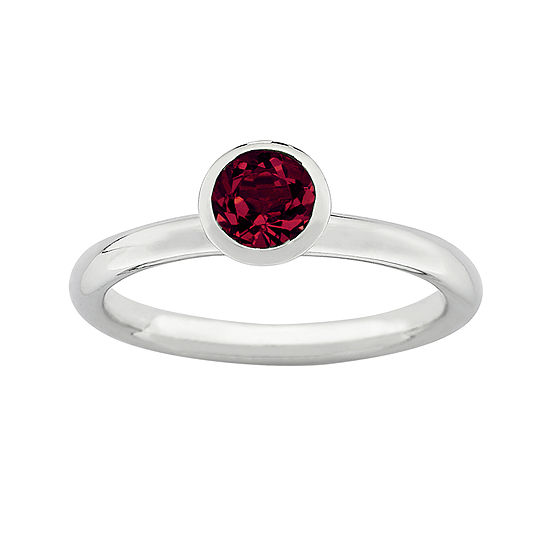 """Personally Stackable """"July"""" Red Crystal Sterling Silver High Profile Ring"""
