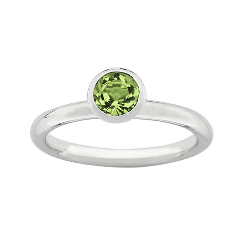 """Personally Stackable """"August"""" Green Crystal Sterling Silver High Profile Ring"""