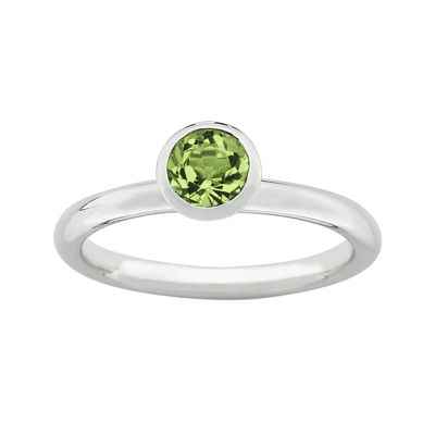 "Personally Stackable ""August"" Green Crystal Sterling Silver High Profile Ring"